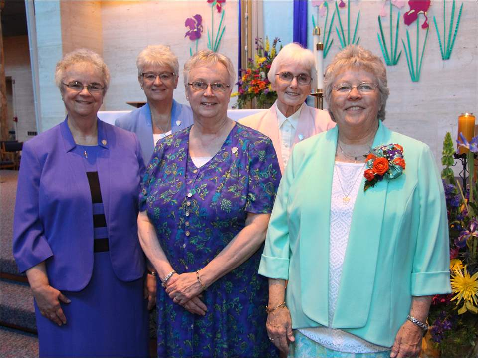 From left: Sister Theresa Darga, assistant congregational minister, Sister Rachel Marie Nijakowski, councilor, Sister Sharon Derivan, councilor, Sister Mary Jon Wagner, congregational minister, and Sister Shannon Schrein, councilor.