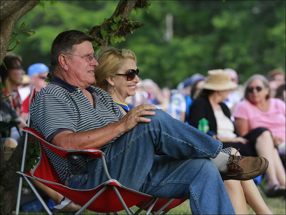 Bob and Linda Domini of Perrysburg listen to the Northcoast Concert Band in downtown Perrysburg.