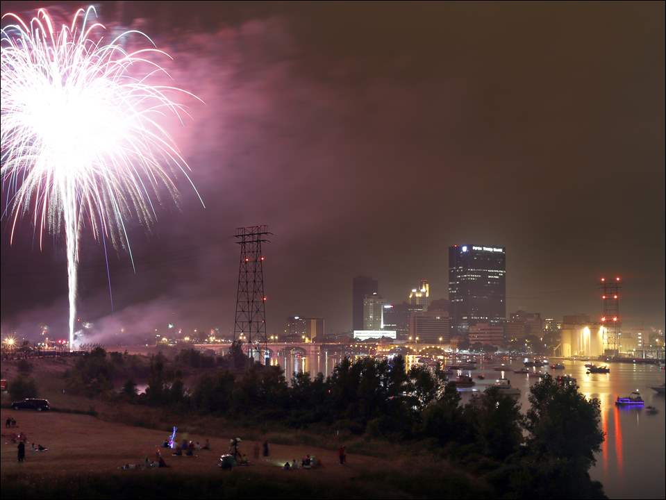 Fireworks illuminate the skyline during the annual Independence Day celebration