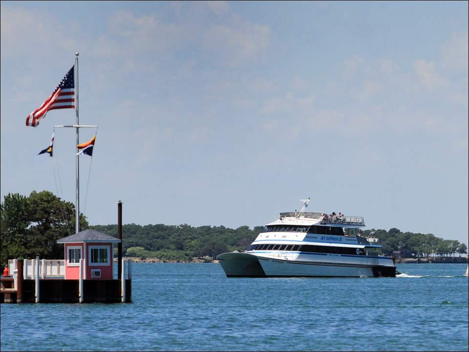 The Put-in-Bay Jet Express Ferry approaches the dock in Put-in-Bay.
