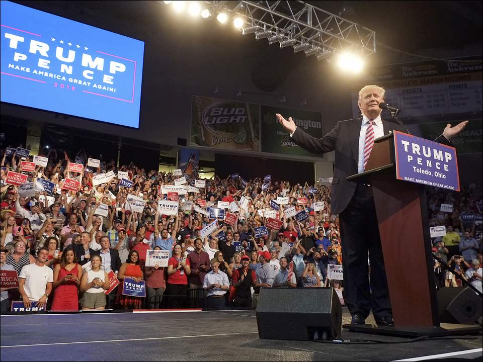 Republican presidential candidate Donald Trump speaks during a rally.