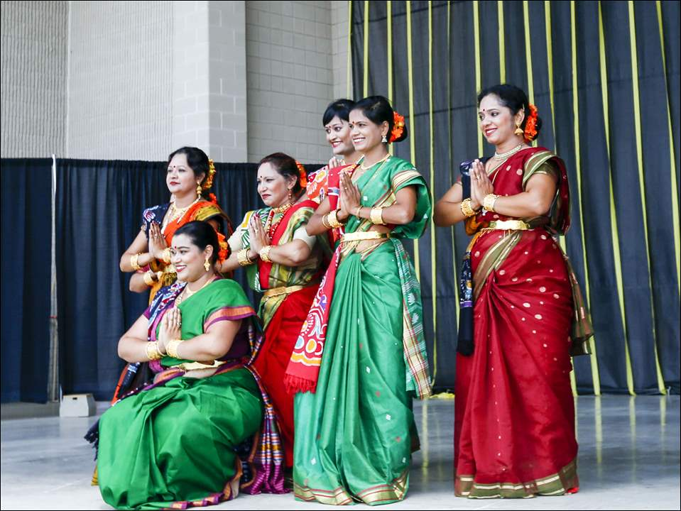 An Indian dance troupe.