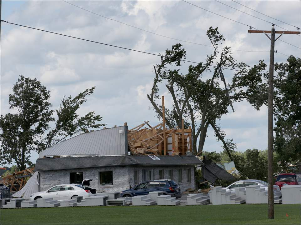 Rath Builders Supply Inc. sustained heavy damage from a tornado just north of Defiance.