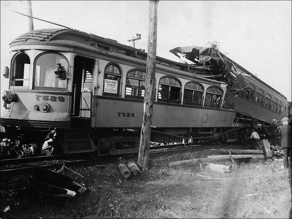 In what was at the time called the worst accident in the history of the Detroit Limited Railway Lines; eight people died and 30 were injured when two interurban trolley cars from the Detroit, Monroe, and Toledo route crashed head-on.  A northbound car left Toledo at 12:25 p.m. Sept. 2, 1926. The southbound car left Detroit at 12:29 p.m. The trains were traveling on the same track. The southbound train was instructed to pull off onto a side track cut-off to wait for the northbound train to pass. That train's conductor saw a northbound interurban that had pulled off on the opposite side track, mistakenly assumed that was the train he was supposed to wait for, and he proceeded toward Monroe. Unfortunately there was a second train heading northbound.