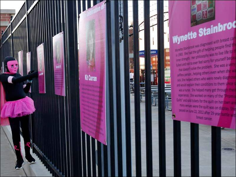 Kaden Curtis, 11, of Swanton, looks at a poster of a family friend  who passed away to cancer during the annual Susan G. Komen Foundation Race for the Cure in downtown Toledo. Curtis, who is wearing a special costume, attended the event in honor of his aunt Carah Faber who is still cancer free after 11 years.