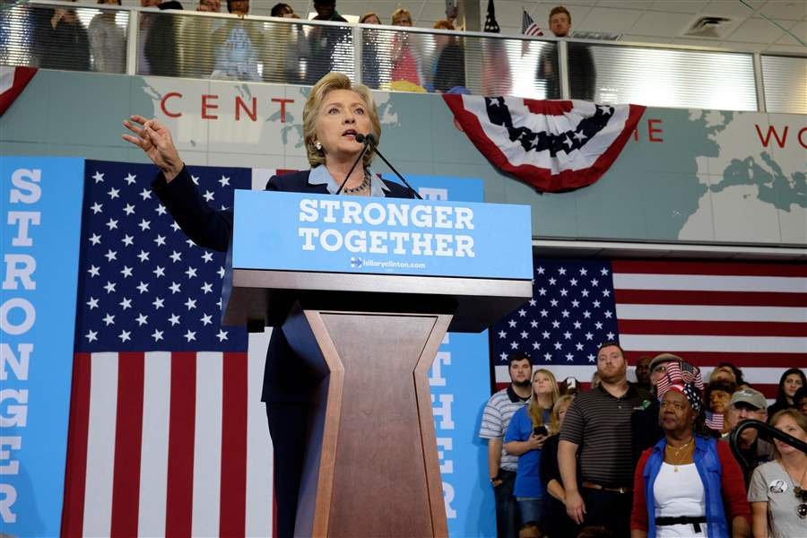 Hillary Clinton Blasts Trump Talks Economics In Toledo Stop The - Hillarys stage us map