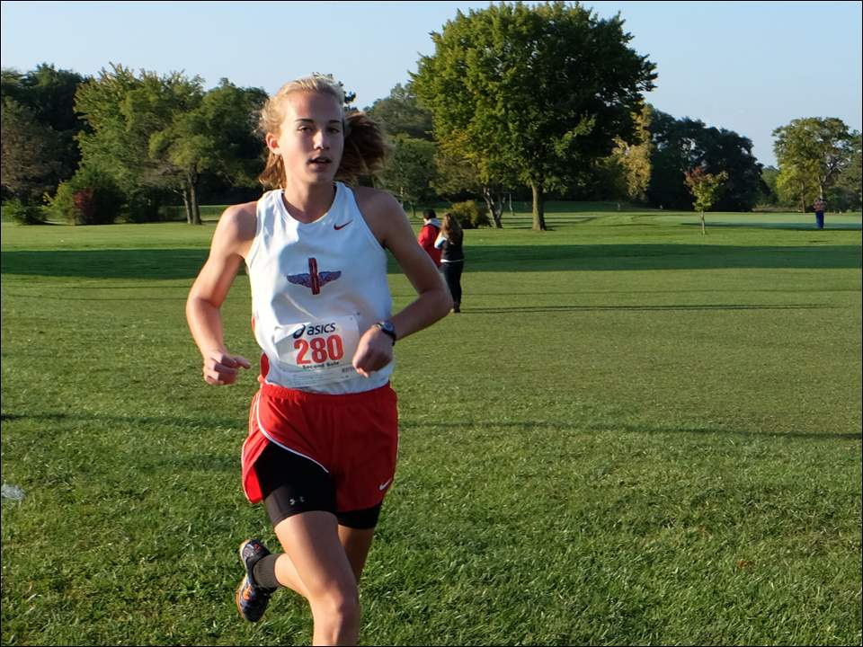 Bowsher's Megan Burmeister is all alone as she leads the pack. She won the race.