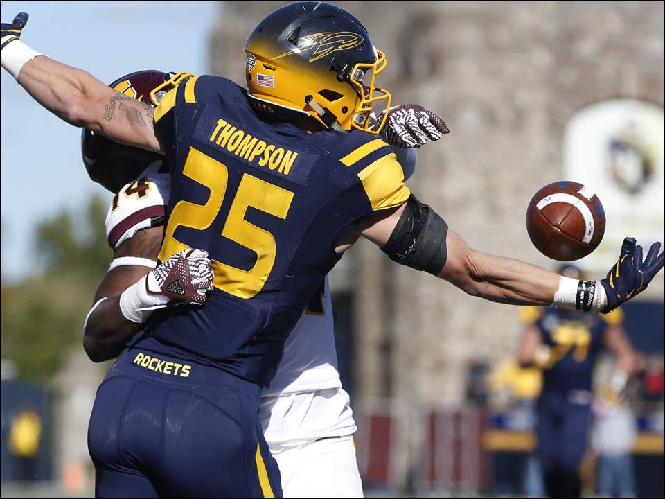 Interference on this touchdown pass is called on Central Michigan's Josh Cox against Toledo's Cody Thompson.