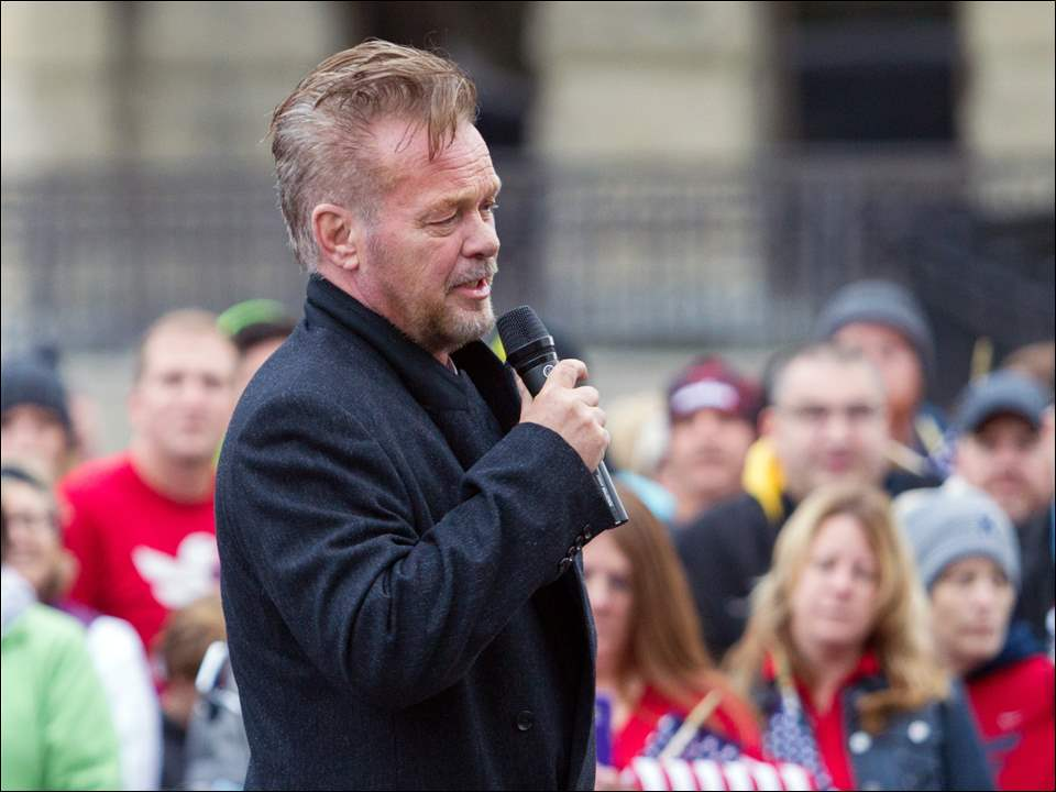 Tent City honorary mayor John Mellencamp speaks before the Walk End Veteran Homelessness.