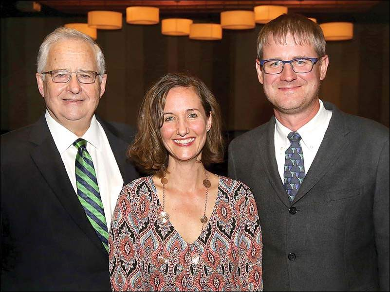 Joseph H. Zerbey, IV, left, his daughter Kimberly Zerbey and son-in-law Bryan Wagstaff attended, 'Steppin' Back: A Celebration for Joe Zerbey'.
