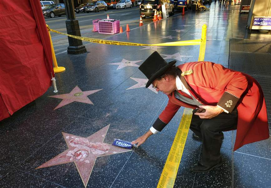 Donald Trump's Walk Of Fame Star Vandalized With A Pickax