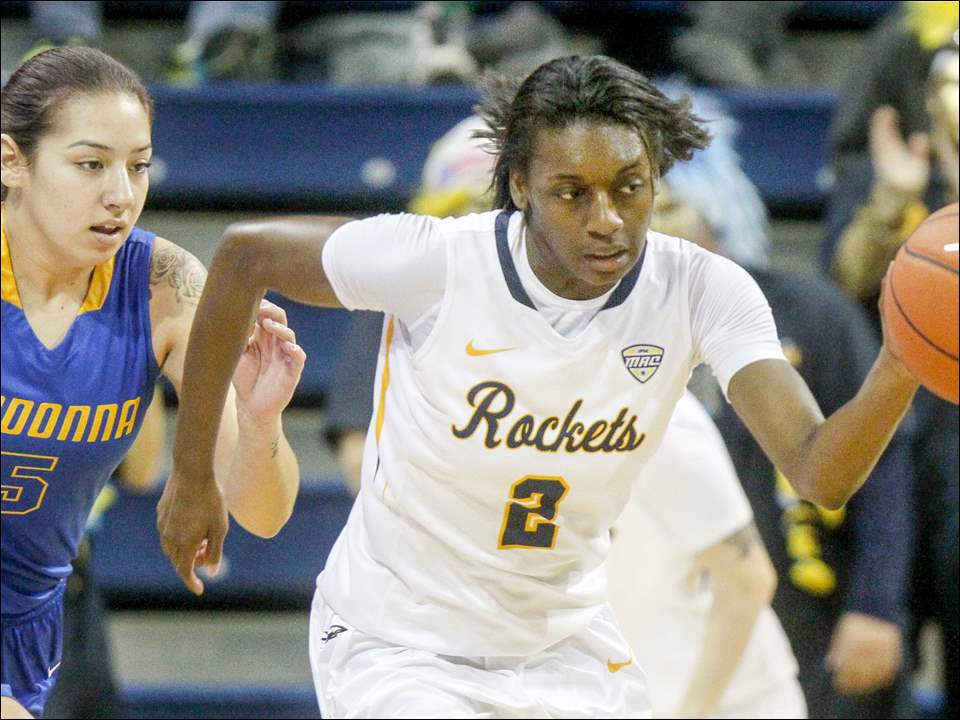 Toledo's Mikela Boyd picks up a steal off a pass intended for Madonna's Victoria Guadiola.