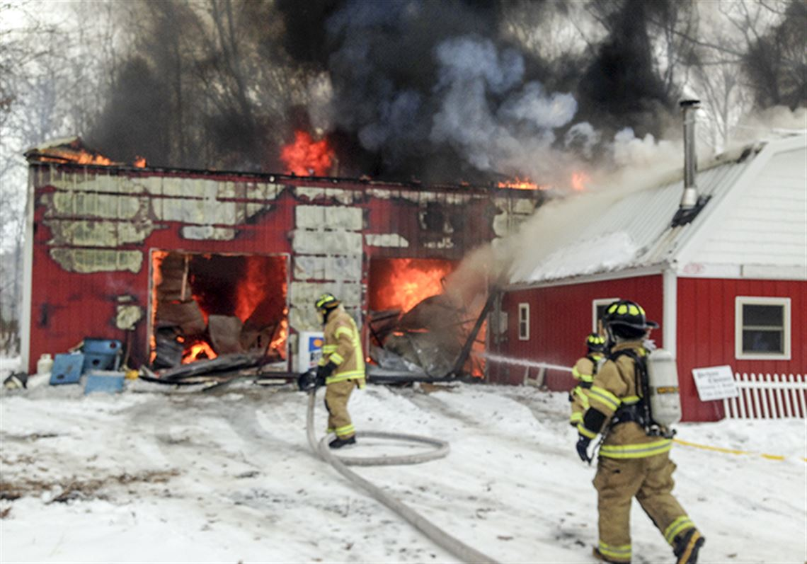 A fire destroyed a barn and an attached house in Ida Township, the day  before