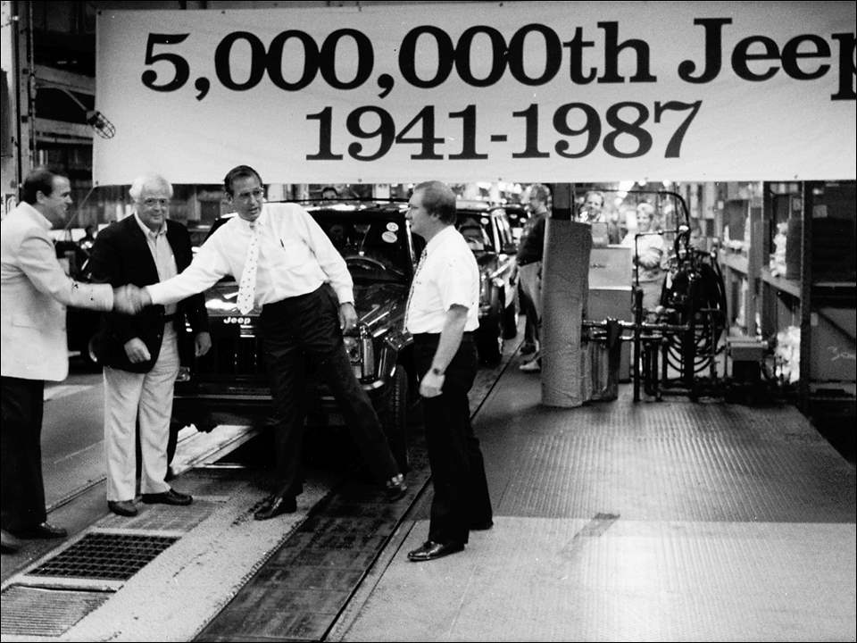 To salute auto show season, here's a look back at a major milestone in Jeep production.  On August 27, 1987, the number of Jeeps produced reached 5 million as a Cherokee rolled off the line in Toledo. Blade photographer Bruce Sinner was on hand for the event. Shown from left to right: Lloyd Mahaffey, International Rep. UAW Region 2B, Dan Twiss, unit chairman of UAW Local 12, Jim Korowin, Chrysler plant manager, and Jerry Huber, production manager.  Production of the 5 million Jeeps spanned parts of five decades, from 1941 to 1987. The total included 361,407 military Willys MAs plus more than 4.6 million bearing the Jeep name starting with the Civilian Jeep (CJ) 2a model in 1946, and including CJ models built in Brampton, Ontario. AM General and Ford-built Jeep-type vehicles were not counted in the totals.  The North American International Auto Show opens to the public at Cobo Center in Detroit Saturday and runs through Jan. 22. The Greater Toledo Auto Show opens to the public at SeaGate Convention Centre on Jan. 26 and runs through Jan. 29.