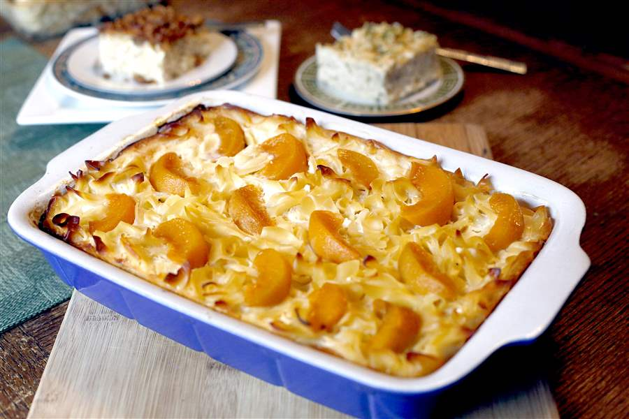 Peach kugel, front, exciting noodle kugel, back right, and noodle ...
