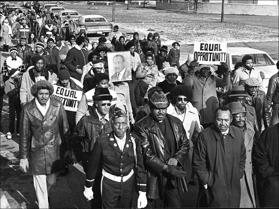 Monday Memories: Honoring a civil rights leader   Today is a federal holiday, commemorating the life of the Rev. Martin Luther King, Jr.  This Blade photograph by Luke Black was taken Jan. 18, 1983, as Toledoans marched in honor of the slain civil rights leader. The procession route was from Lo Salem Missionary Baptist Church on Vance Street to the Martin Luther King Center on Nebraska Avenue. The march was preceded by a memorial service at the church, featuring a speech by Toledo Municipal Judge Charles Doneghy, and followed with a dinner for the marchers when they reached the center.  PHOTO GALLERY: Pictures of the Week, January 9-15, 2017  Mr. King was born Jan. 19, 1929. He was assassinated April 4, 1968, while on a civil rights mission in Memphis. But his dream of achieving racial equality and an integrated society continues today.