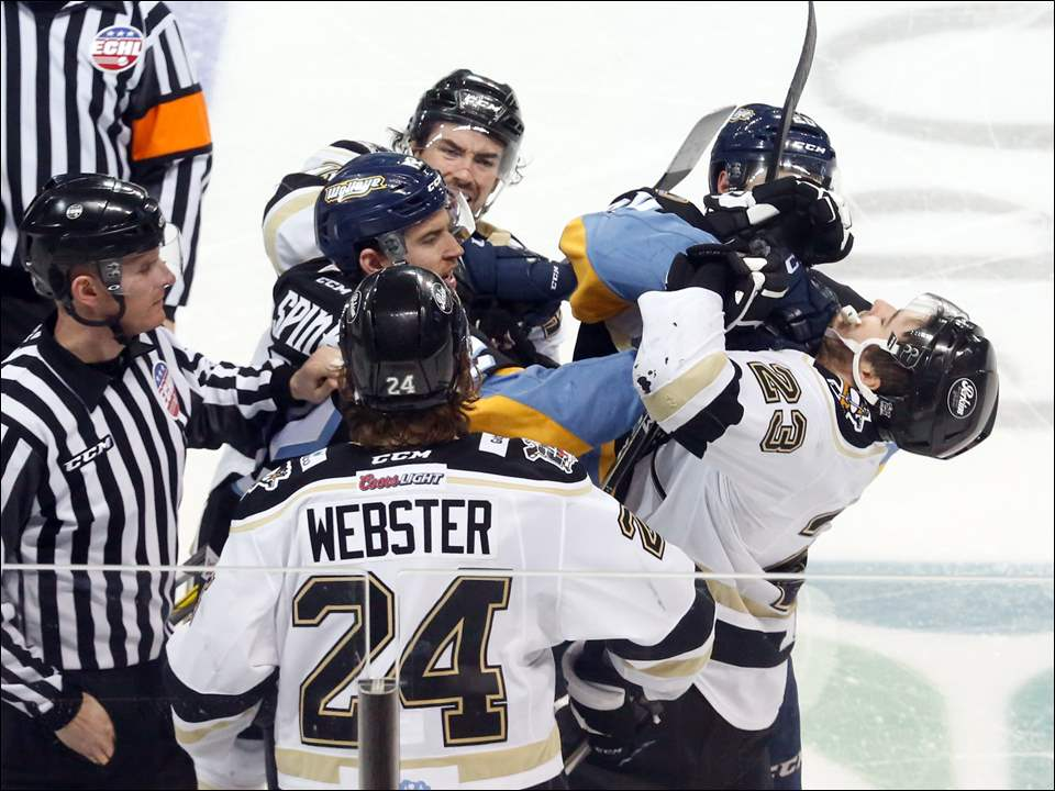 The Walleye and Wheeling get into a massive brawl on the ice.