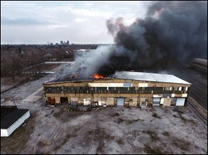 Lithium Innovations in Toledo burns as seen with a drone-mounted camera that proved useful in its debut.