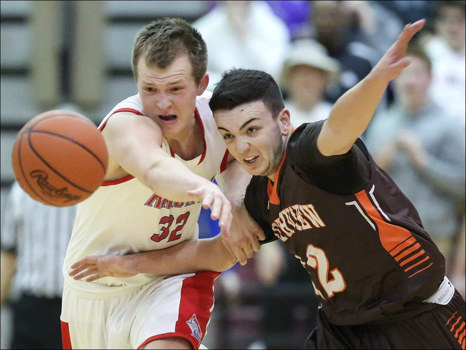 St. Francis player John Burnham, left, steals the ball from  Southview's Will Wooddall.