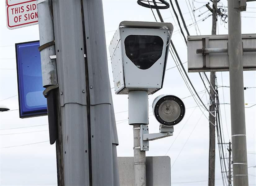 A Red Light Camera At The Intersection Of Hill Avenue And Byrne Road.