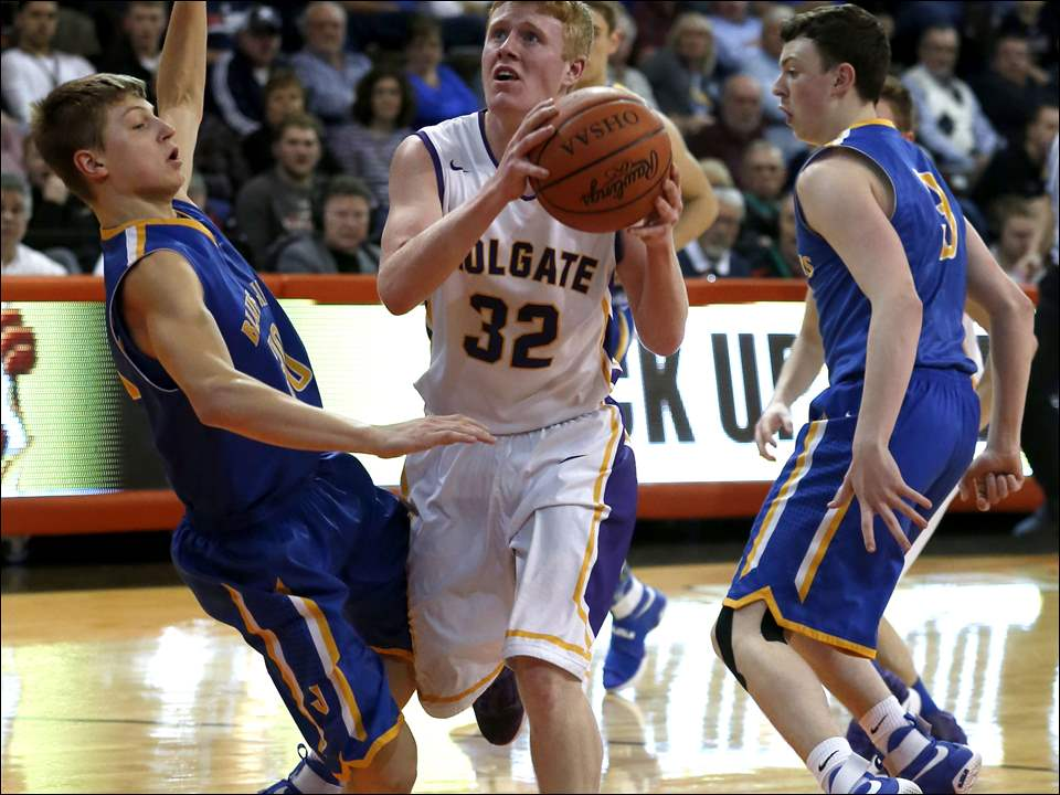 Holgate's Jake Grim is fouled by Delphos' Collin Will, left.