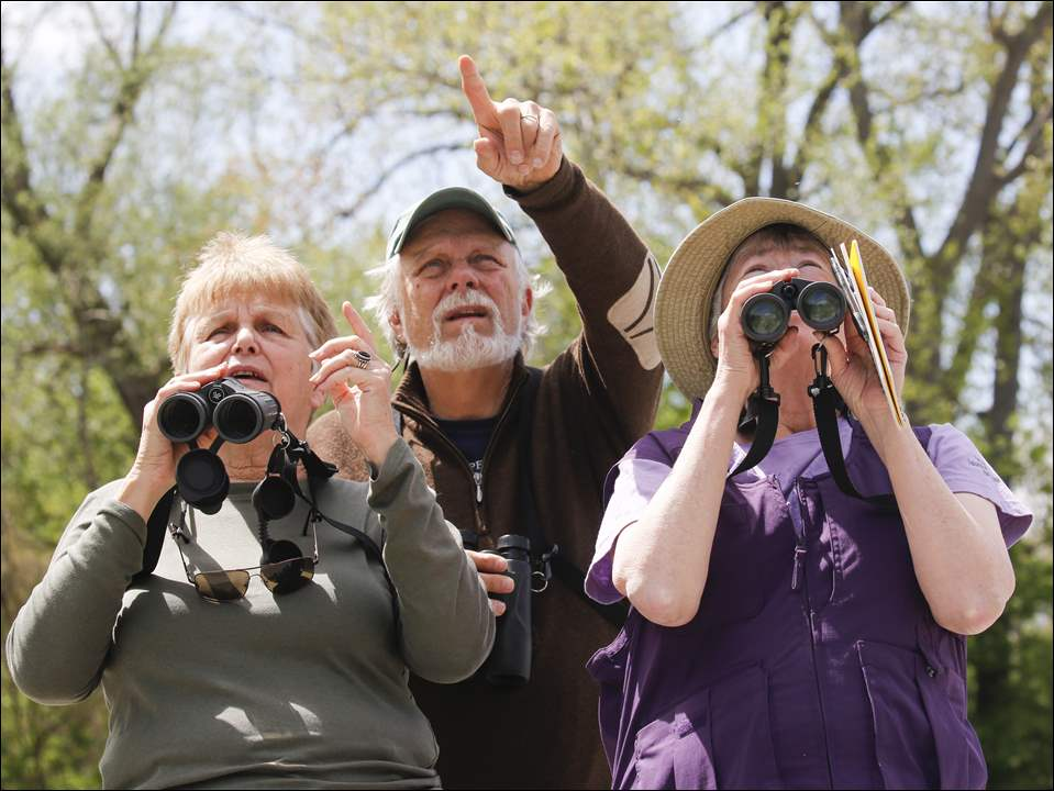 Sandra Sutherland, left, Earlysville, Virginia, and Joe and Liz Sutter, St. Germain, Wisconsin, search the trees during a bird watching trip to Metzger Marsh Wildlife Area in Oregon.
