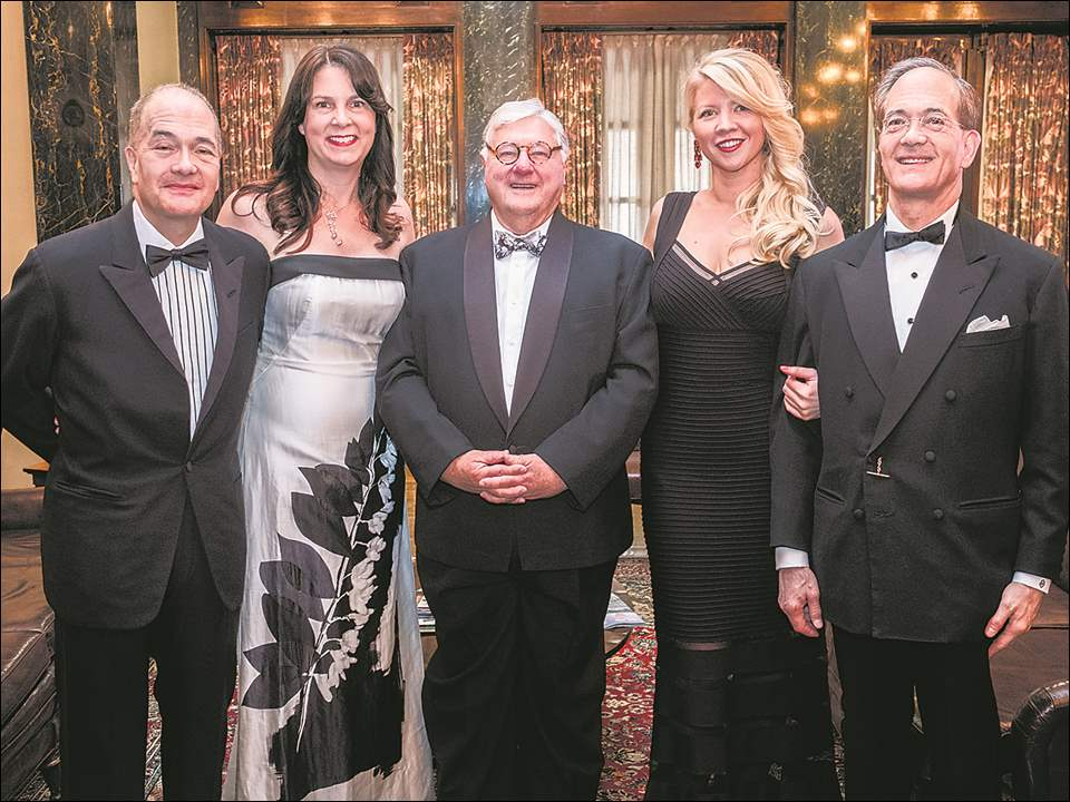 From left, Allan and Susan Block, John Kerby, Stacy Trumble and John Block at a Derby party.