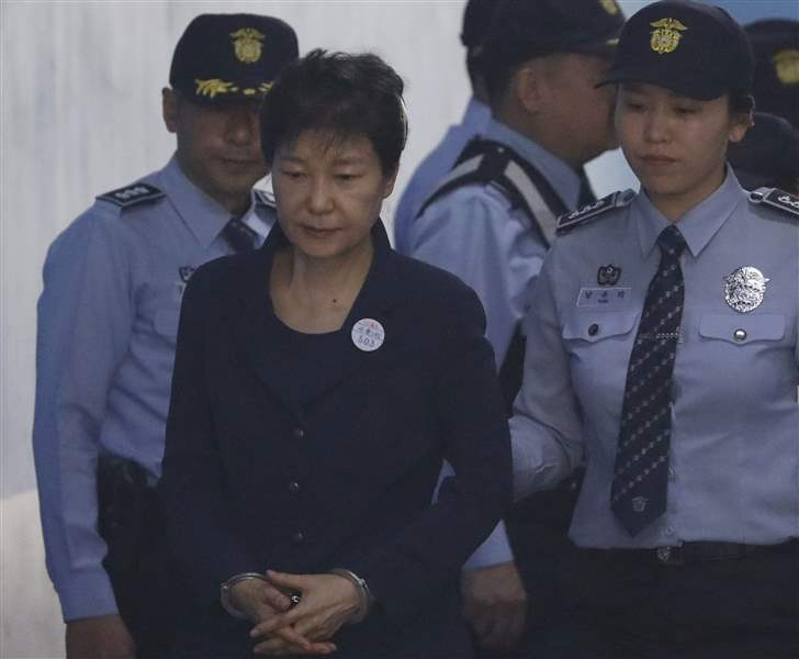 Image result for photos of handcuffed south korean president