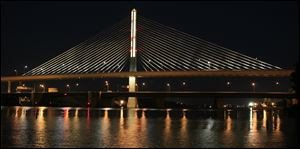 The I-280 Veterans' Glass City Skyway bridge with its stay-cable lights fully lit in September of 2010.
