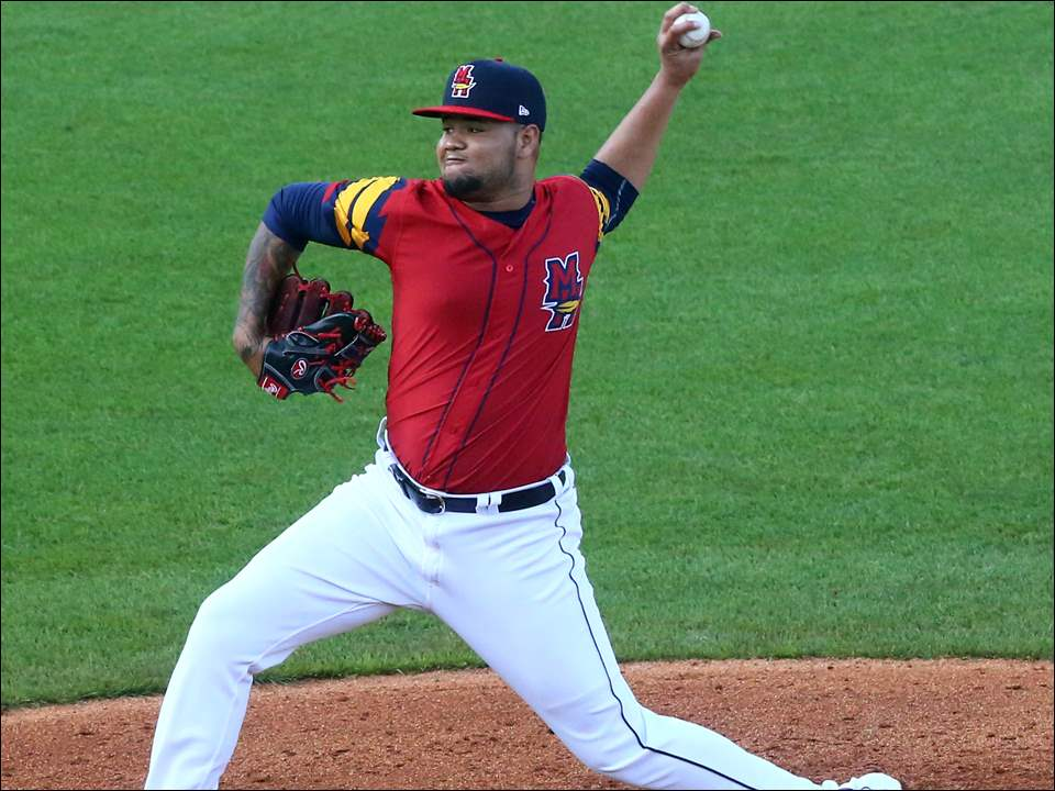 Mud Hens southpaw Jairo Labourt delivers during the 10-4 loss to the Buffalo Bisons to end a homestand at Fifth Third Field.