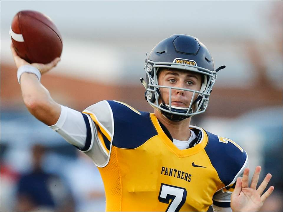Whitmer quarterback Riley Keller delivers during Friday's Three Rivers Athletic Conference opener against St. John's Jesuit.