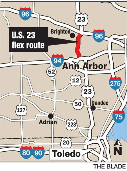MDOT Pilots Flex Route To Alleviate US Traffic The Blade - Us 23 map