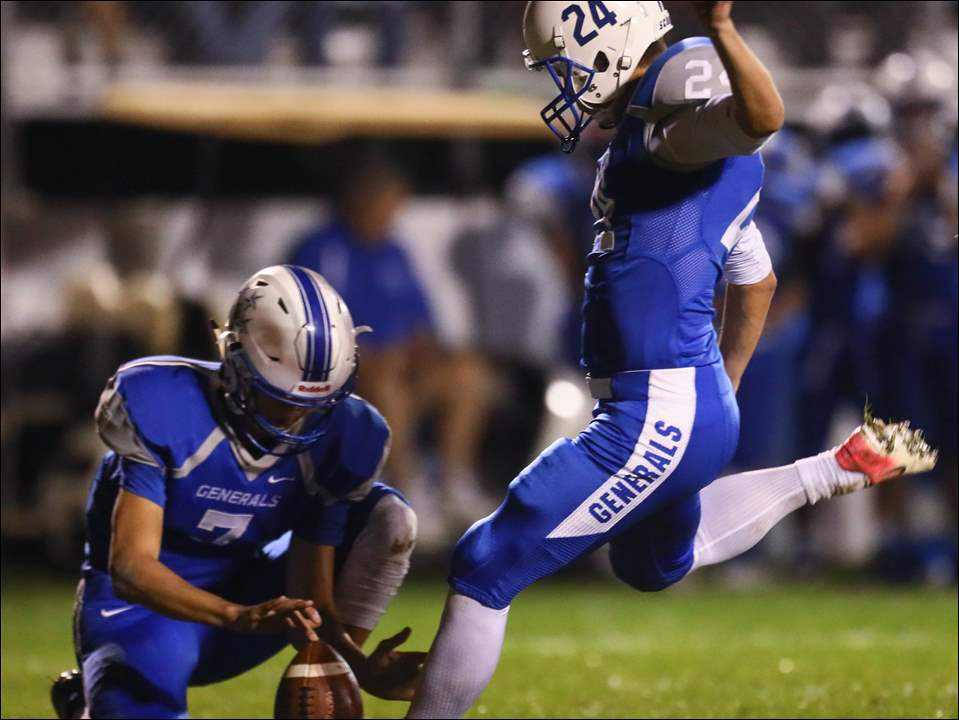 Anthony Wayne kicker Tucker Ramirez kicks a field goal against  Northview Friday. The Generals beat Northview 10-3 to improve to 7-1 overall and 5-0 in the Northern Lakes League.