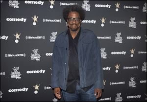 Comedian and CNN host W. Kamau Bell poses as he arrives for the Just for Laughs awards show at the annual comedy festival in Montreal, Friday, July 28.