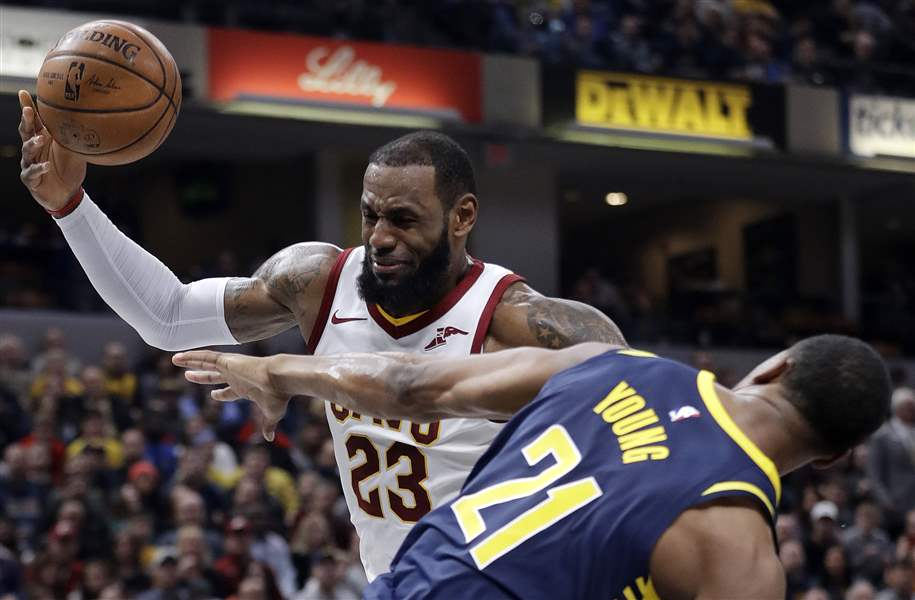 Pacers defenders clear lane for LeBron James