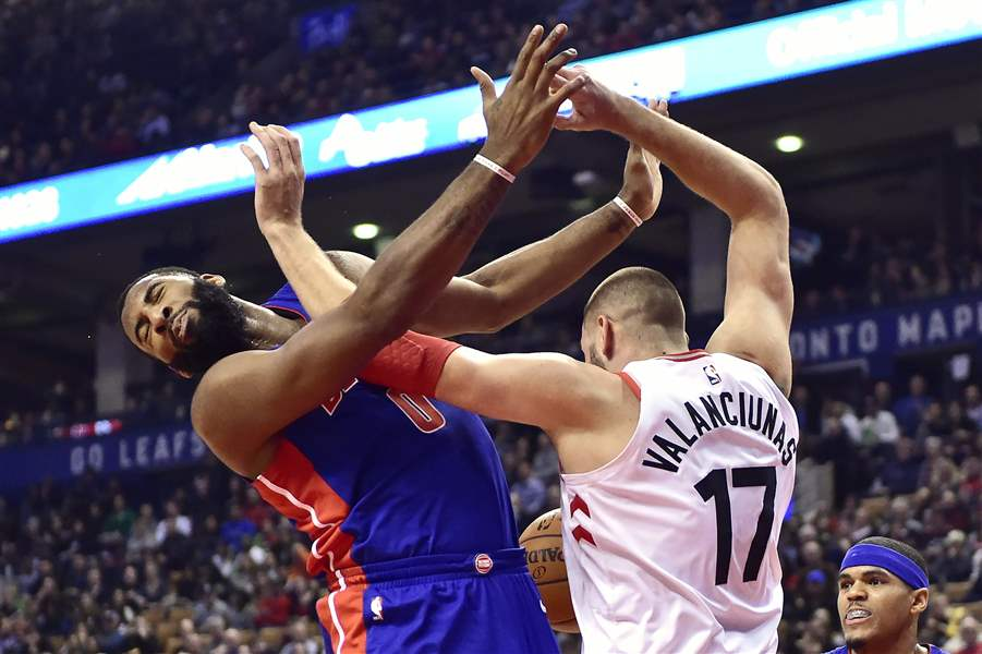 Miles leads Raptors past Pistons, 96-91