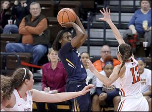 Mikaela Boyd, pictured in a game earlier this season, scored 18 points, but Toledo lost 67-58 at Miami.