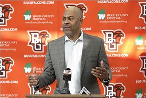 Bowling Green State University football coach Mike Jinks discusses incoming recruits during a news conference Wednesday, December 20, 2017 at the Sebo Center. The Falcons added four more players in February's recruiting class.