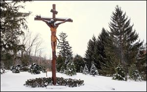 An outdoor crucifix on the grounds of the Sisters of St. Francis in Sylvania.