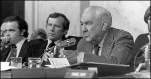 Sen. Sam Ervin, right, chairs the Senate Watergate hearings in 1973. At left is Fred Thompson, then a minority counsel and later a senator himself. At center is Sen. Howard Baker.