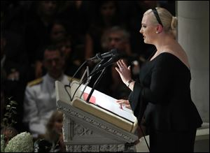 Meghan McCain speaks at a memorial service for her father, Sen. John McCain, at Washington National Cathedral.