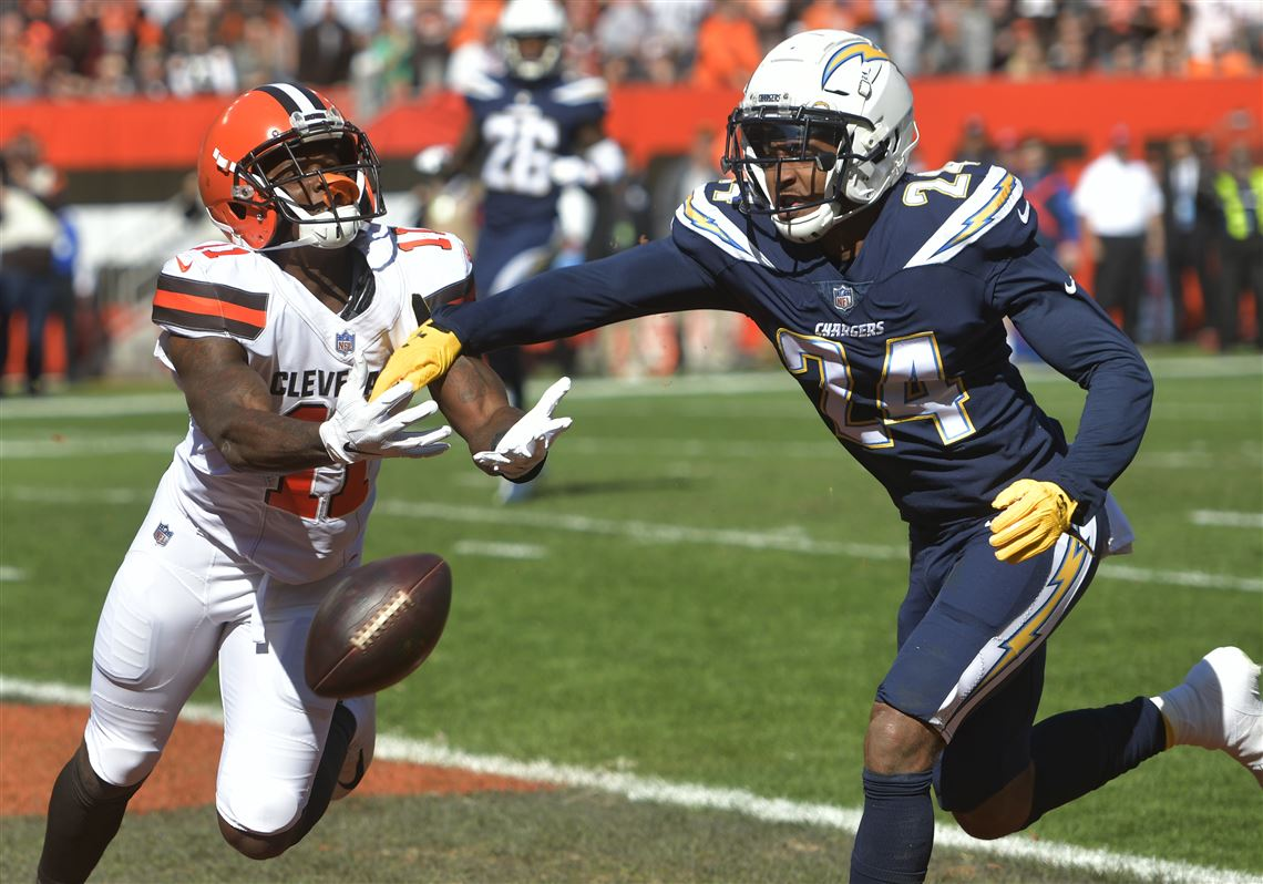 Cleveland Browns wide receiver Antonio Callaway cannot hold onto the ball  under pressure from Los Angeles bf7f4a149