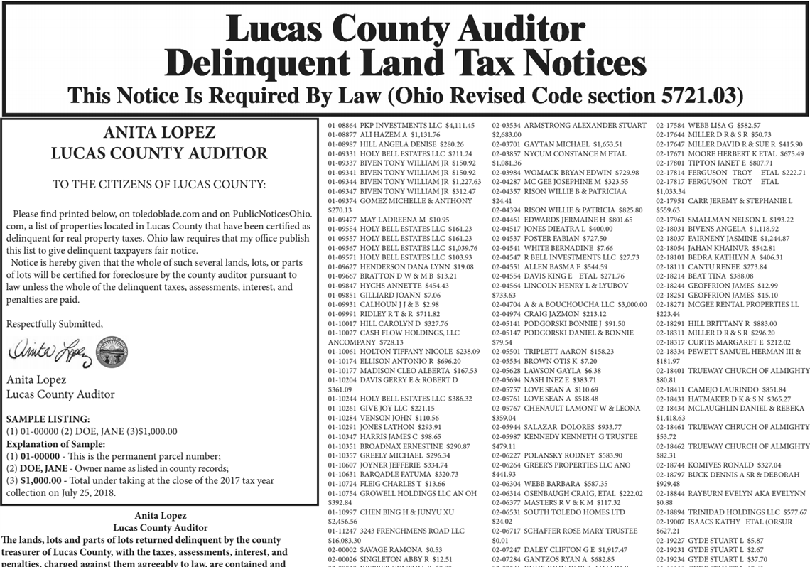2018 Lucas County Auditor Delinquent Land Tax Notices