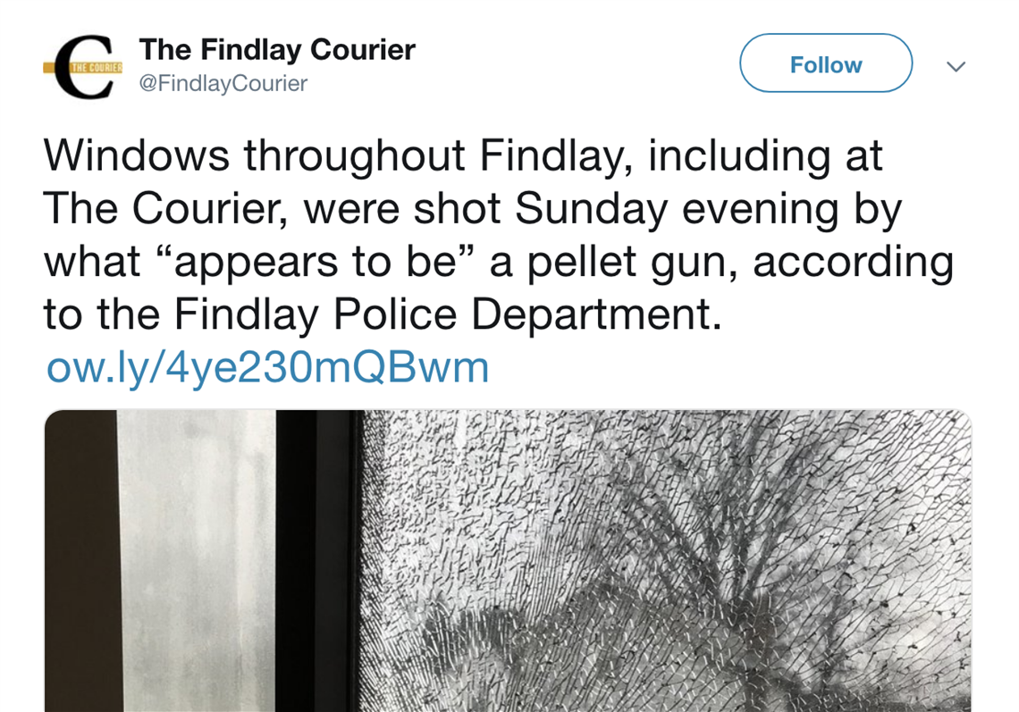 Drive-by shooting reported at Findlay Courier office