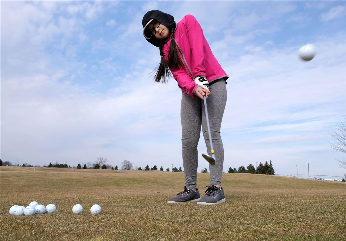 085e894f1863 Beka Yang practices chipping, her strength, at the Legacy Golf Club for the  Drive. 3