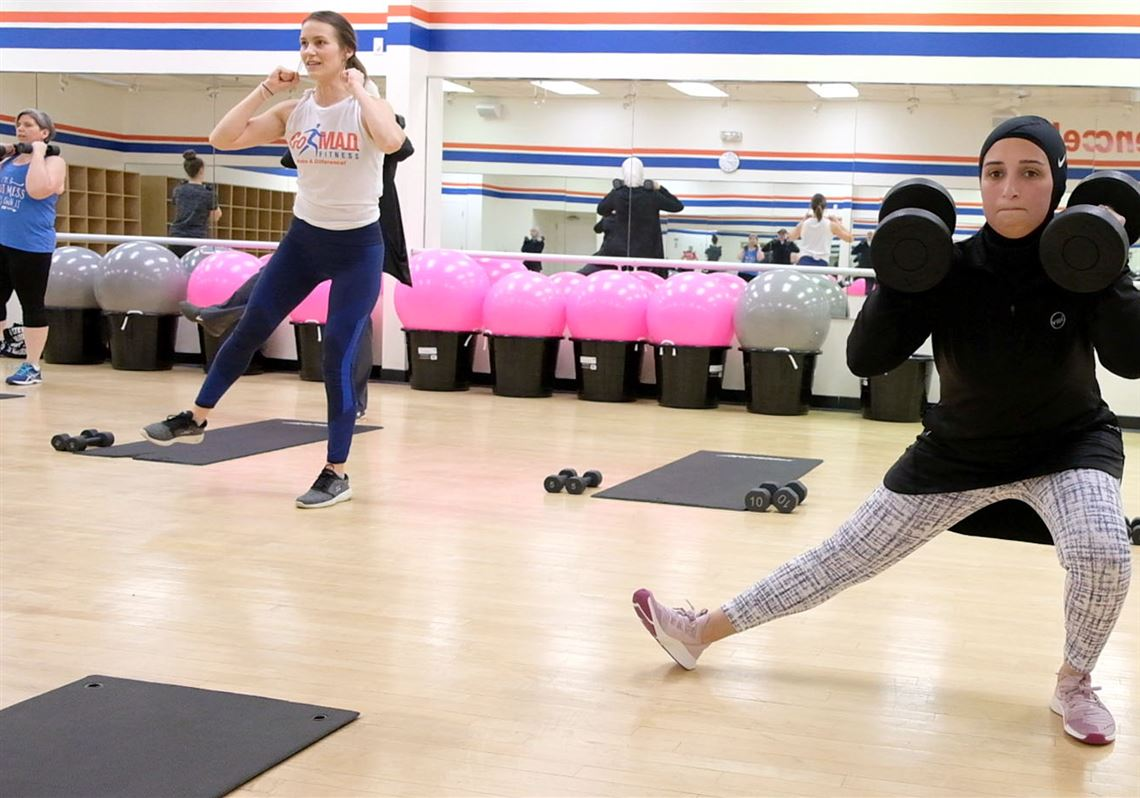 Jessicca Angelov works out during a Ramadan fitness class at Go M.A.D. Fitness in Toledo.